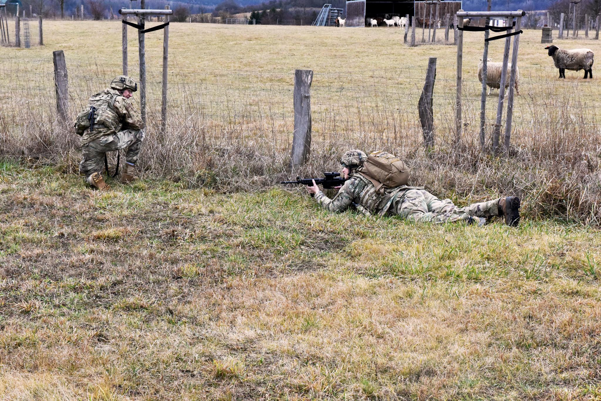 Průzkum kolem ovčí pastviny v rámci bojové operace
